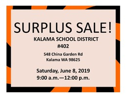 Surplus Sale! June 8, 2019 9:00 a.m. - 12:00 p.m.